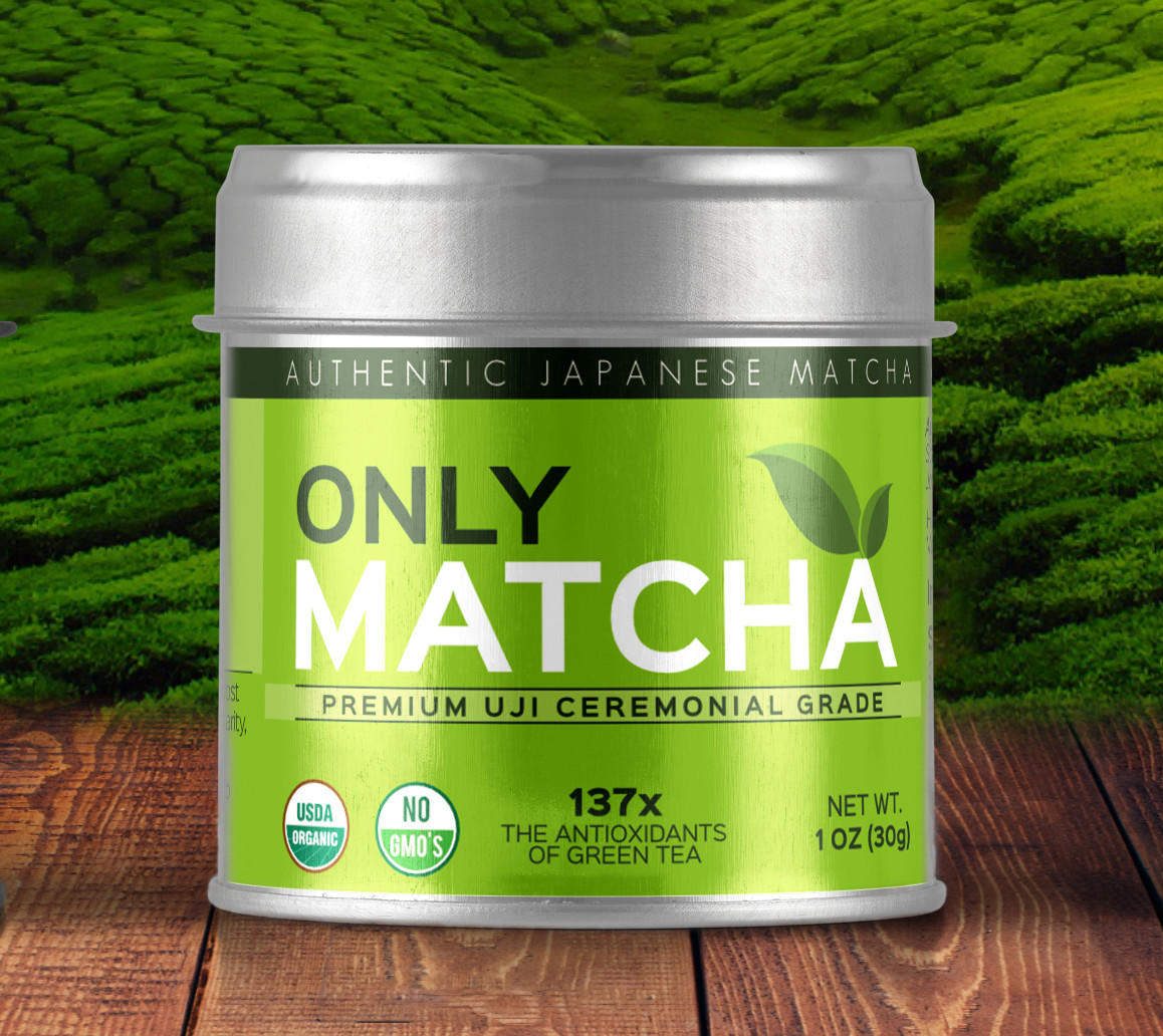 Product label and package design for matcha organic tea drink