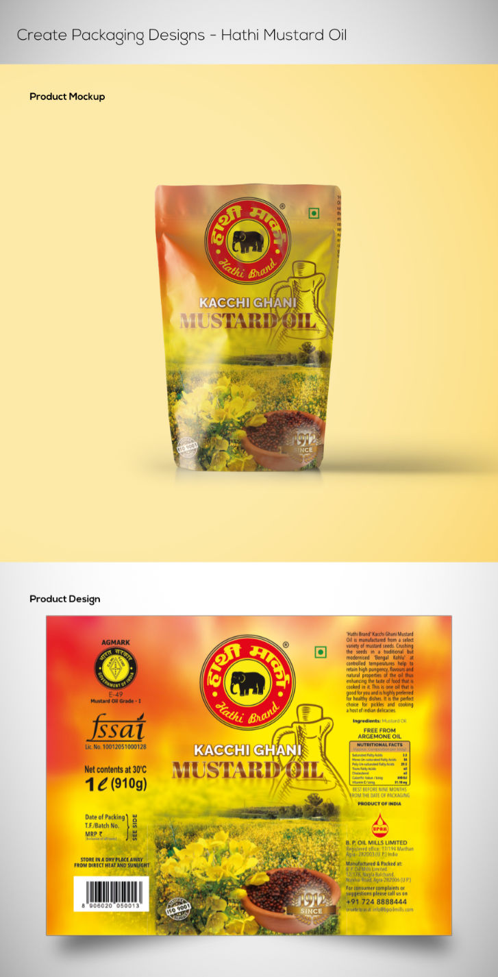reate Packaging Designs - Hathi Mustard Oil