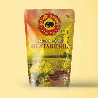 Hathi Mustard Oil Package Pouch Design